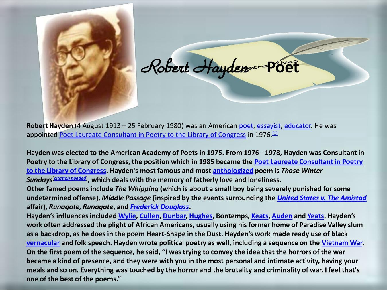 runagate runagate by robert hayden essay Runagate runagate by robert hayden about this poet born asa bundy sheffey into a poor family, robert hayden's parents left him to be raised by.